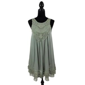 Altar'd State Sage Light Green Flowy Lace Dress